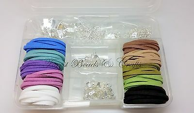 Suede Cord Starter Kit, Boxed ~ Jewellery/Bracelet/Necklace Making, Findings