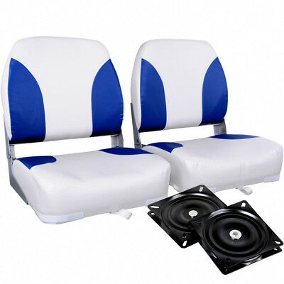 Set Of 2 Swivel Folding Stainless Steel Marine Boat Accessories Seats White Blue