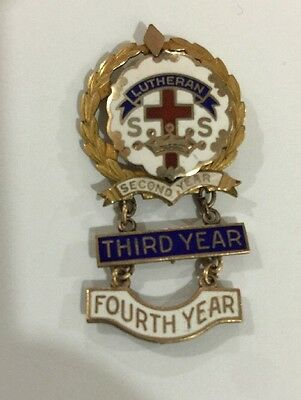 4 Year Evangelical Sunday School Attendance Award Pin- Little's Cross/crown