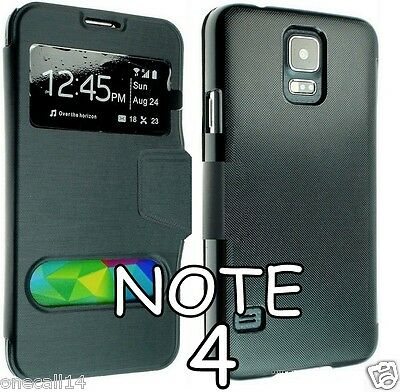 New Samsung Galaxy Note 4 N910 Leather Case Cover Flip Pouch Slim Back N910F