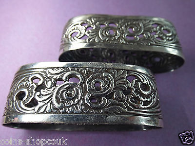 Antique Dutch  Napkin Rings, A Pair Of Very Ornate, Georg Nilsson & Georg Jensen