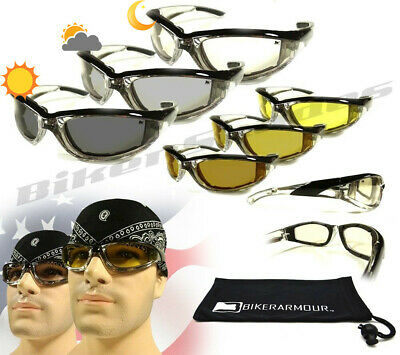 Motorcycle Chrome CLEAR YELLOW Lens Transition Riding Biker Glasses Day Night