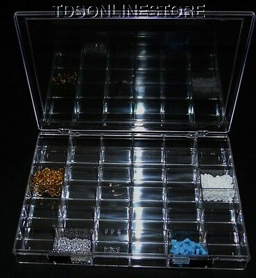 Crystal Clear 36 Compartment Storage Box With Double Slide Locking