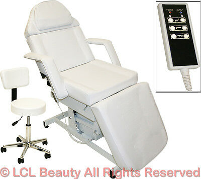 White Electric Massage Facial Table Bed Chair Barber Beauty Spa Salon Equipment