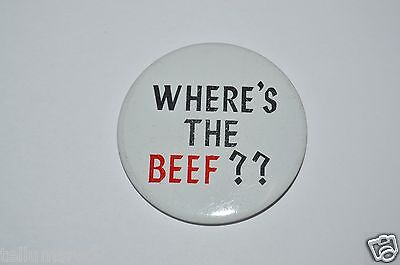 """RARE Vintage 1980's Funny """"Where's The Beef??"""" Wendy's Button Pin Shirt Hat VHTF"""