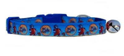 Handmade fabric Blue Tom & Jerry safety kitten cat collar bell 3 sizes