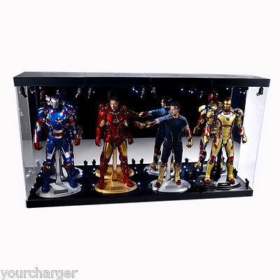 """MB-4 Acrylic Display Case LED Light Box for four 12"""" 1/6th Scale Avengers Figure"""