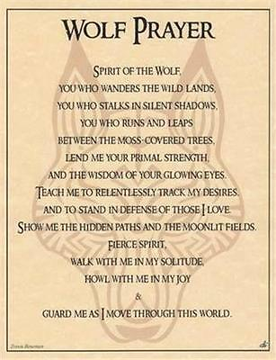 Wolf Prayer Parchment for Book of Shadows Page, Altar!