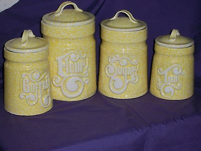 VINTAGE CERAMIC CANISTER, SUNNY YELLOW, SET OF 4