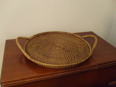 """Pampered Chef Woven Basket Round Serving Tray 17"""" Dia Heavy Duty Server RETIRED"""
