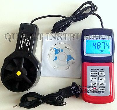 New Digital Anemometer  Wind Flow  Speed Temp Scale Wave Height  w/ Software