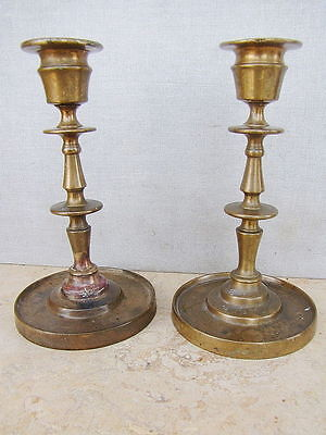 "JUDAICA RUSSIAN ANTIQUE BRONZE PAIR SHABBAT CANDLESTICK SIGNED ""YUDIN"" 19th CEN"