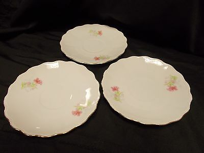 Vintage P T Bavaria China White w/ Pink Rose Pattern - 3 Saucers (for cups)