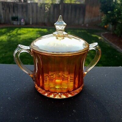 Iridescent Carnival Aunt Polly Sugar Bowl With Lid