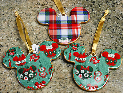 New Disney Parks MICKEY Ornament Icons Christmas Ornaments - Set of 3