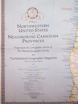 1941 NATIONAL GEOGRAPHIC WESTERN UNITED STATES WALL MAP w CANADIAN PROVINCES