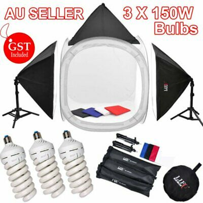 Photo Photography Studio 3X 150W Light Soft Box 80cm Cube Ten Backdrop Stand Kit