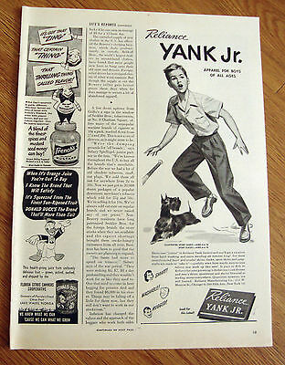 1946 Yank Jr Clothes for Boys Ad Scottie Scottish Terrier Dog  Baseball Theme