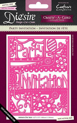 Cut emboss Die'sire Create-A-Card A2 Card Size Die cut Party Invitation 4x5