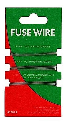 1 x Cards Of  Fusewire 5A 15A & 30A For Re Wireable Fuses / Fuse Wire
