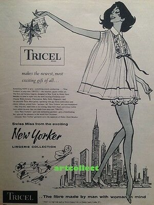 Original Vintage English Ad: Tricel. New Yorker Lingerie Collection. (1958)