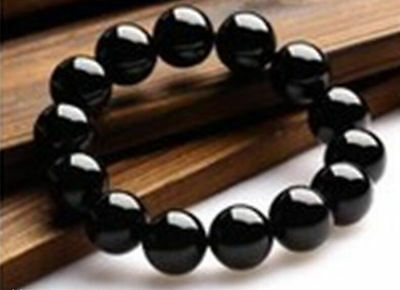 12mm Natural Genuine Black Agate Onyx Gemstone Round Beads Stretchy Bracelets