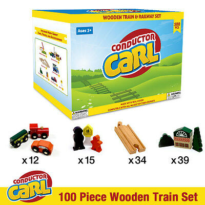 Conductor Carl Wood Wooden 100 Piece Toy Train Set