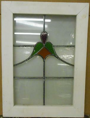 "OLD ENGLISH LEADED STAINED GLASS WINDOW Pretty Abstract Design 18.25"" x 25"""