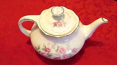 Crown Dorset Teapot (2 Cup) Suble Pink Roses on White Background