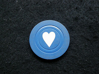 1 Antique Heart or Love Poker Chip - Blue Color - 1900s Old Rare Gaming Game