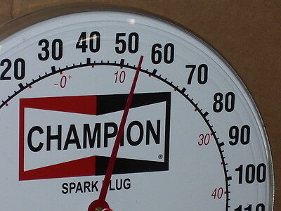 CHAMPION SPARK PLUG --- GAS & OIL FILLING STATION --- Old Style Temperature Sign