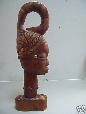 """Very Old Antique Genuine Wood HANDCARVED African Girl 14"""" Tall"""