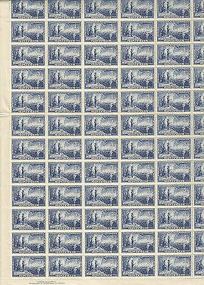 Stamps 1951 Australia 5&1/2d blue Federation issue sheet of 84 MUH with imprint