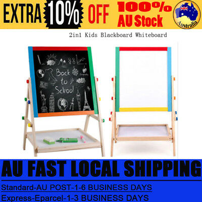 2in1 Kid Standing Double Sided Blackboard Whiteboard Wooden Easel Chalkboard AU8