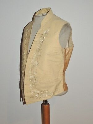Mans Hand Embroidered Early 1800's Ivory Wool Vest Sm Ex Cond