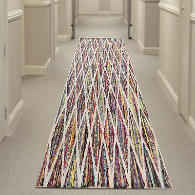 MULTI-COLOURED 502-DAIMOND HALL RUNNER Hallway Carpet Rug NEW 80x400cm