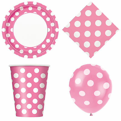 36 Item Set Polka Dot Pink and White Girls Birthday Tableware & Decorations