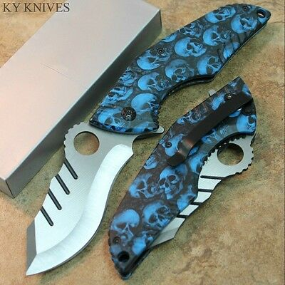 ZOMBIE KILLER Bowie Blue Skull Tactical Assisted Open Pocket Knife SE-969BL