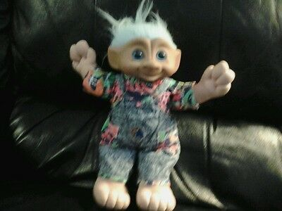 "Large 12"" Vintage Ace & Russ Troll Doll Vinal Head Plush Body"