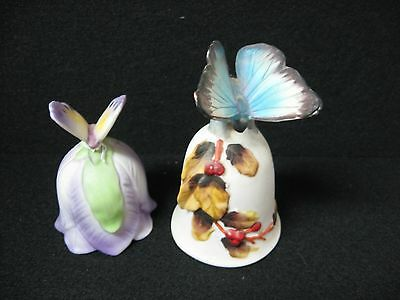 set 2 hand painted ceramic bell BUTTERFLY Lefton MIC