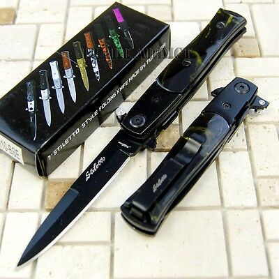 """7"""" Italian Stiletto Tactical Combat Spring Assisted Open Pocket Knife -M"""