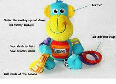 Lama__ze Play & Grow Morgan the Monkey Baby Soft Squeaking Toy Teether Rattle