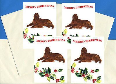 Irish Setter Pack Of 4 Cards Dog Print Greeting Christmas Cards