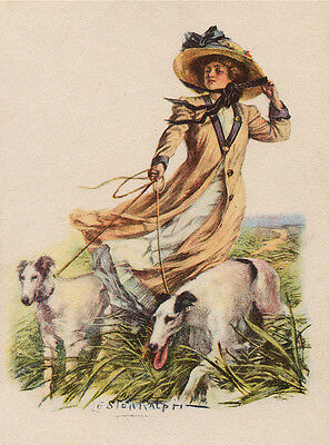 Borzoi Charming Dog Greetings Note Card Beautiful Lady And Her Dogs