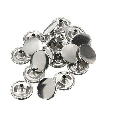 15mm Silver Press Studs Fasteners Caps Only for DIY Sewing Leathercraft Purses