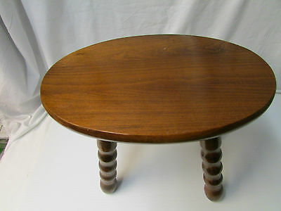 Antique Hand Made Oval All Wood Foot Stool ~ Stamped Under Stool""