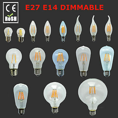 New Dimmable 12W E27 E14 B22 LED 2/4/6/8W Retro Edison Filament Light Lamp Bulb