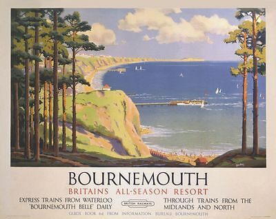 Vintage Railway Advertising  rail travel poster  A4 RE PRINT Bournemouth  3
