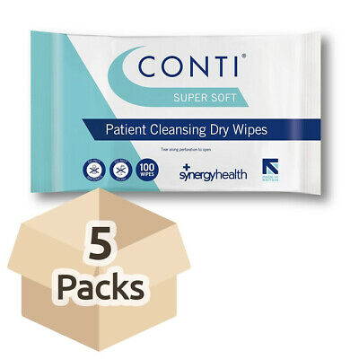 Conti SuperSoft Patient Cleansing Dry Wipes - Case - 5 Packs of 100