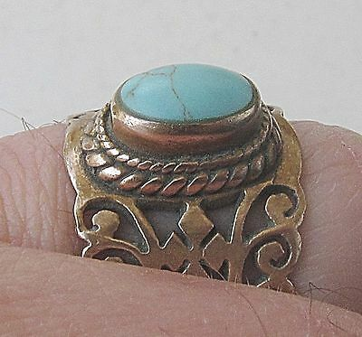 Victorian Turquoise Filigree Pinchbeck Ring Size 7 Hand Crafted